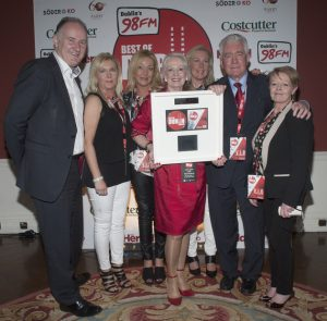 Jim Barry MD Barrys Group presents Eugene O'Reilly and his team of O'Reilly Transport with an award for 'Best Place to Work' at 98FM'S Best of Dublin Awards 2015 at Kilmainham Hospital. Pic Patrick O'Leary